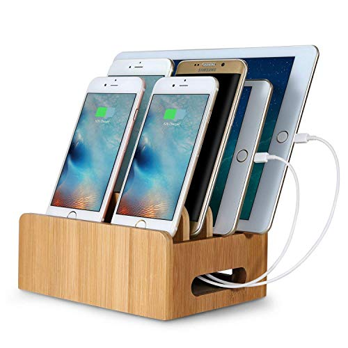Miking-Dong Organizer Stand Bamboo Stand Docking Station Desktop Cradle Holder with Multiple Built-in connectors for Smartphorne Tablets and ()