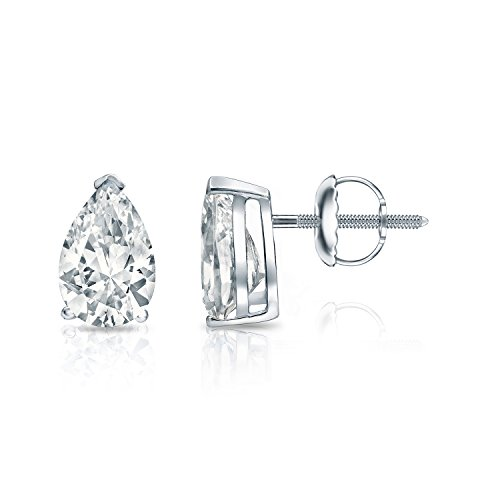 14k White Gold Pear-cut Diamond SIMULANT CZ STUD Earrings V-End Prong(1ct,Excellent Quality)