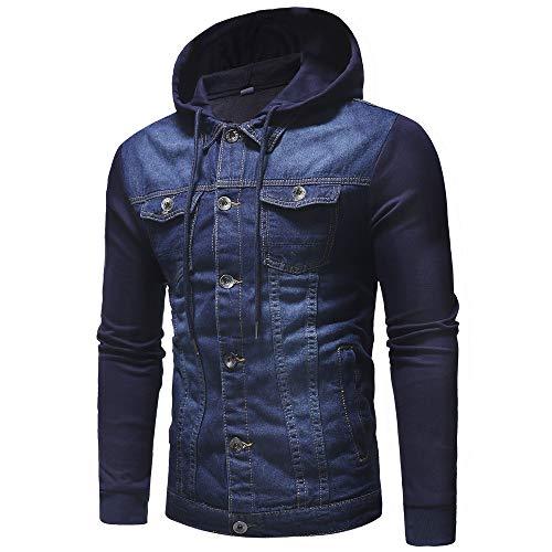 Capucha Chaqueta Jeans para Invierno de con Jacket Abrigo Mezclilla QinMM otoño Azul Hombre TFxCqIq