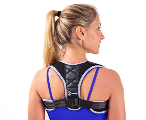 Professional Back Support & Comfortable Posture Corrector for Women Men & Kids - Neoprene Back Brace for Neck Pain & Back Pain Relief with Bonus Resistance Band – Ideal for Running, Walking, Fitness by STALSTOL