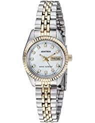 Armitron Womens 75/2475MOP Swarovski Crystal Accented Two-Tone Bracelet Watch