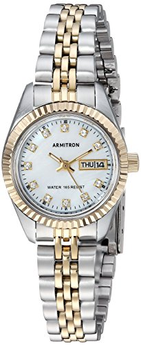 (Armitron Women's 75/2475MOP Swarovski Crystal Accented Two-Tone Bracelet Watch)