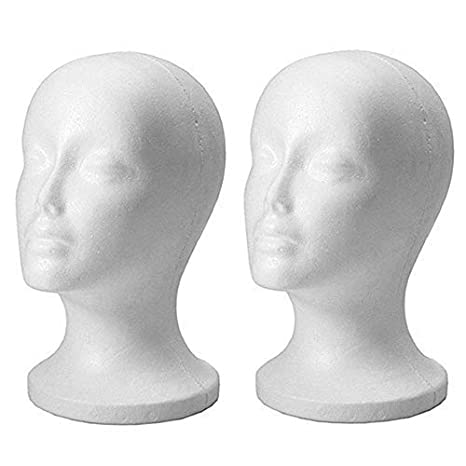 Polystyrene Female Display Mannequin Head Dummy Wig Holder Stand