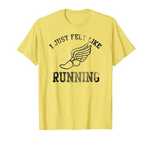 Mens Forrest Gump I just felt like running T-shirt Large Lemon