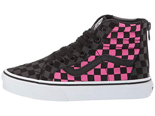 Vans Girl's Sk8-Hi Zip Skate Shoe (10.5 Little Kid M, (Checkerboard) Carmine Rose/Black)