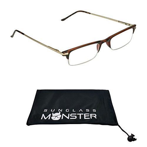 Thin Semi Rimless Reading Glasses Metal Browline Small head - For Small Glasses Heads