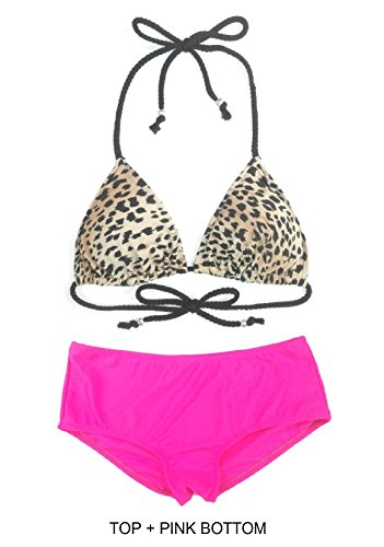 PRIMA SWIM 2 PC Women's Triangle Leopard Print Multicolor Bikini Top with Mid Rise Hipster Bikini Bottom Beachwear Swimsuit Set 7 Colors Available (XXL (US20), TOP + Pink Bottom) (Print 5550)
