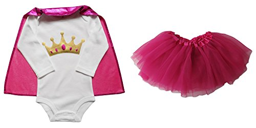 So Sydney Baby, Infant Girl Superhero Onesie with Detachable Cape & Tutu Skirt (M (6-12 Months), Crown Princess – Gold & Hot Pink)
