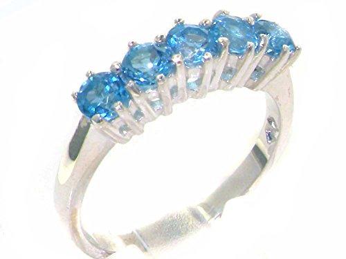 Haute Qualité Bague pour Femme en Or blanc 417/1000 (10 carats) sertie de Topaze bleue - Tailles 47 à 68 disponibles