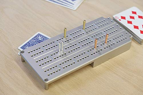 Travel Cribbage Board, made of Durable Aluminum, 3 Player Track, Collapsible, Holds a Deck of Cards, includes 3 Sets of Metal Cribbage Pegs, Folds Together Magnetically, Anodized to Prevent Scratches (Board Cribbage Aluminum)