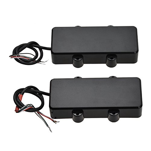 Kmise Double Coil Humbucker Pickups Bridge and Neck Set for 4 String Electric Bass Guitar Parts Black - Double Neck Bass Guitars