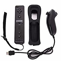 ocamo Juego de Consola Controle 2en 1inalámbrico mando a distancia Controller + Nunchuck con Carcasa de silicona construido en dispositivo de precisión para consola Nintendo Wii Juego, Negro