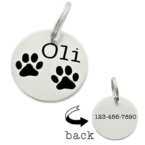 Personalized Paw Print Pet ID Tag - Engraved Name & Phone Number - 1418
