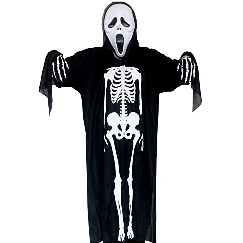 Costumes People Halloween Free (Halloween Costume Skeleton Gloves Skeleton Costume Unisex Costume Scary for Adult Teens Cosplay Skull Ghost Perfect Bone)