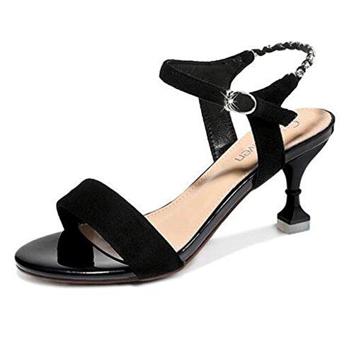 Heel Thin Black Sandals Mid Heels High Shoes Open Female Heel Frosted Upper Summer Toe HxHIXwqfZ