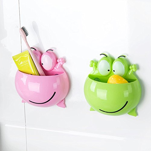 Creative Cute Frog Toothbrush Holder Wall Mounted Bathroom Accessories Toothbrush Storage for Kids Home Organizer Shower Sink Pink Green (Pack of 2)