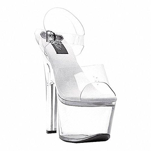 Ellie 711-flirt-c Dames Sexy Comfortabel 7 Hak Clear Bottom Sandaal Transparant