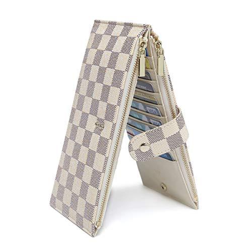 Daisy Rose Checkered Multi card Wallet Clutch - RFID Blocking Organizer Card Holder with zipper pockets -PU Vegan Leather