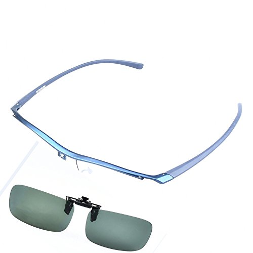 (SO SMOOTH WIND Pure Titanium Glasses Frame Men Eyeglasses Eyewear Frame With Polarized Driving Clip-on (Blue color, Demo clear lens))
