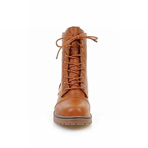 Charm Foot Womens Comfort Lace Up Tacco Alto Martin Tacco Basso Giallo Marrone