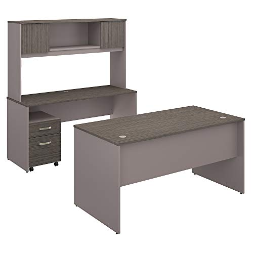 Bush Furniture Commerce 60W Office Desk with Credenza, Hutch and Mobile File Cabinet in Cocoa and Pewter ()