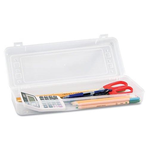 Advantus Long Stretch Pencil Box, 13-3/8 x 5-5/8 Inches, Clear (Polypropylene Storage Box)