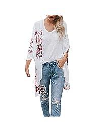 HTDBKDBK Kimono Cardigan for Women Summer Casual Chiffon Shawl Print Kimono Cardigan Top Cover Up Blouse Beachwear