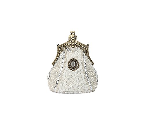 Accented Style Vintage Purse Silver and w Rhinestones Beaded Evening Sequins Handbag Victorian nqpWUZxYSt