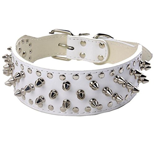 BTDCFY Hoot PU Leather Adjustable Spiked Studded Dog Collar 2 Wide 43 Spikes (L(Neck 21-24), White)
