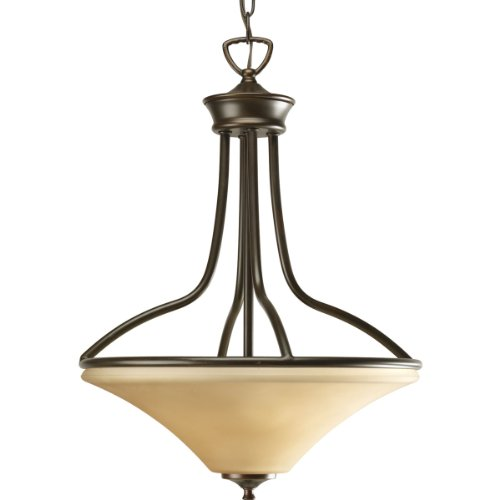 Stained Glass Shaped Cone (Progress Lighting P3919-20 3-Light Foyer with Trumpet Glass Shade, Antique Bronze)