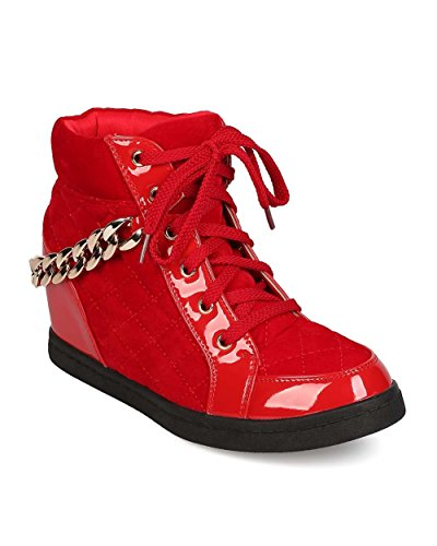 Fahrenheit EH77 Women Mixed Media Quilted Lace Up Chained Hidden Wedge Sneaker - Red Gcj8k