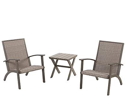 Grand Patio 3-Piece Wicker Conversation Set, Aluminium Outdoor Chat Set, Weather Resistant Patio Furniture Set, Grey