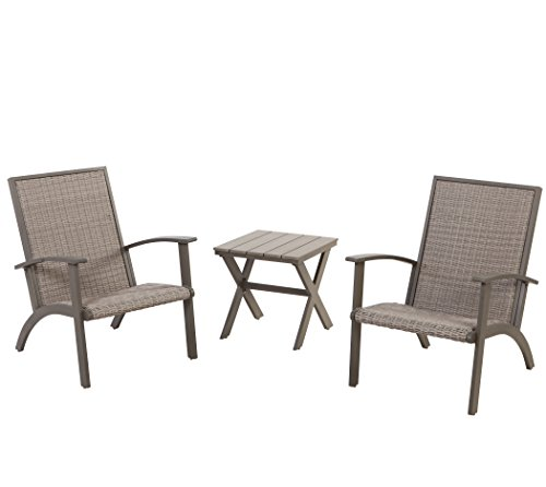 (Grand Patio 3-Piece Wicker Conversation Set, Aluminium Outdoor Chat Set, Weather Resistant Patio Furniture Set, Grey )