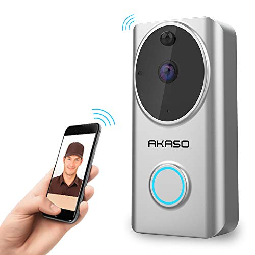 Video Doorbell, AKASO WiFi Doorbell Camera Works with Alexa 720P HD Smart Wireless Doorbell Home Security Two-Way Talk & Video Cloud Storage PIR Motion Detection Night Vision Support for iOS Android