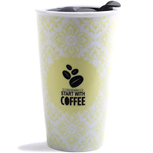 Travel Coffee Ceramic Mug Tea Cup Double Wall Porcelain With Lid 11oz. by CEDAR HOME, Yellow