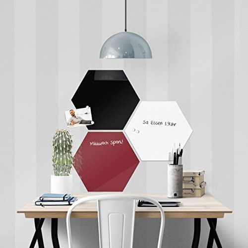 Glas Magnettafel Hexagon Beige mit 4 Magneten Memoboard Magnetboard Magnetwand