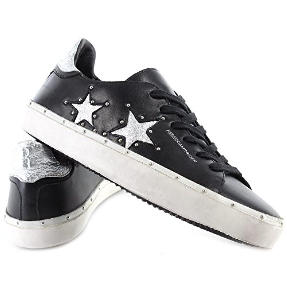 Rebecca Minkoff Scarpe Donna Sneakers Rmmilt12 Bksv Michell Pelle Nera Nuove