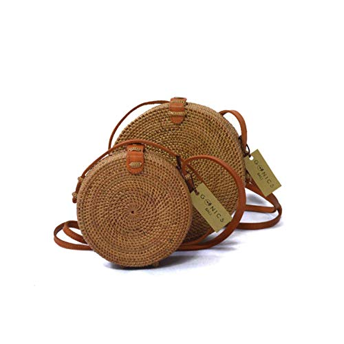 Handwoven Rattan Beach Bag Straw Bali Bag Wicker Bag Natural Ata Grass Crossbody Shoulder Bag (BEDUGUL BAG) ()