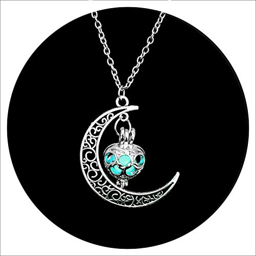 White Island 2019 New Hot Moon Glowing Necklace,Gem Charm Jewelry,Silver Plated,Women Halloween Hollow Luminous Stone Necklace Gifts ()