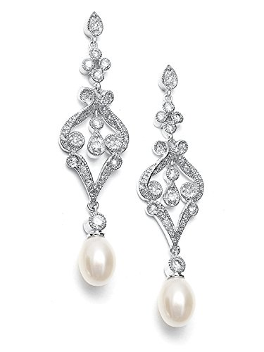 Mariell Vintage Cubic Zirconia Rhodium Scroll Bridal Earrings with Genuine Freshwater Pearl - Pearl Scroll Design