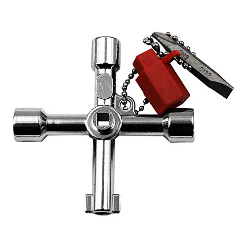 Cinhent Wrench Multi-Tool 4 Way Cross Key Wrench Square Triangle Train Electrical Elevator Cabinet Box, Utility Key Professional Control Cabinet Key, Convenient & Practical & Portable