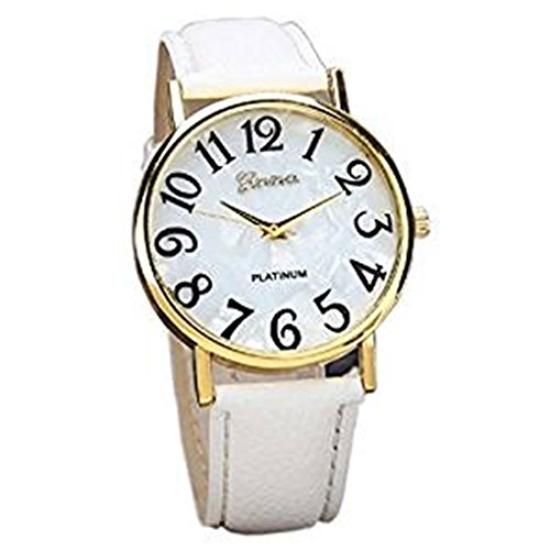 Clearance Sale!Women Watches,Shinericed Women's Fashion Retro Digital Dial Leather Band Big Numbers Quartz Analog Wrist Watch (White) (Quartz White Leather)