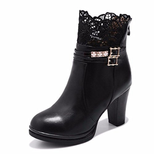 shoes heeled high Women's Black lace women's gIHwCq