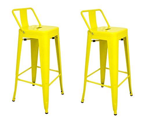 La Silla Espanola - Pack 2 Taburetes estilo Tolix con respaldo. Color Amarillo. Medidas 95x44,5x44,5