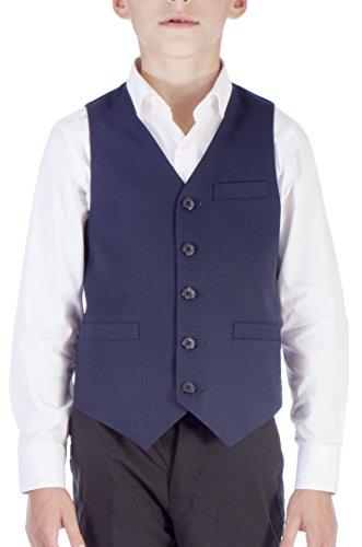 Alberto Cardinali Boys Solid Color Suit Separate Vest VB101 Navy (Large 14-16) (Navy Shoes Color Suit)