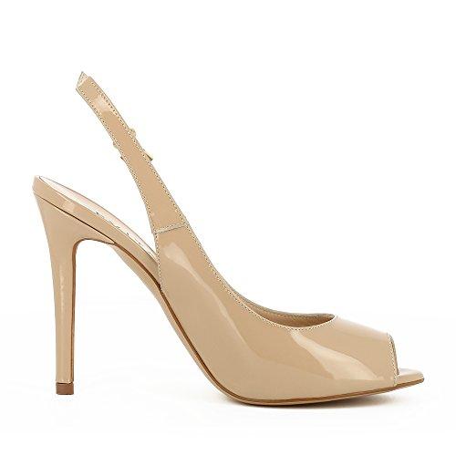 Peeptoe Sling Beige Alessandra Femme Cuir Evita Verni Shoes w0EFqqt