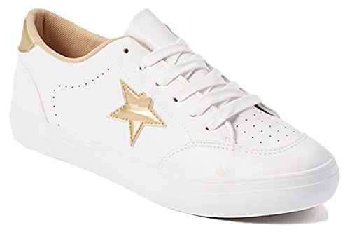 Womens Sneakers Metallic Star Fashion Vegan Leather Comfortable Casual Fashion EURO Star Shoes White/ Gold Tu3t5S