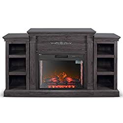 DELLA 28 in. Electric Fireplace with Enhanced Log Display and Mantel, CSA Certification, Grey, Brown, White