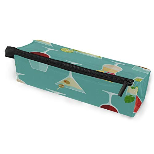 Pen Holder/Stationery Cosmetic Makeup Bag Pouch Round Case Cocktail Color Design Creative Romance Minimalist Print Polyester Zipper Pencil Bag Multi-Function Glasses Storage Bag