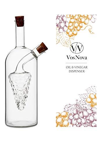 VOSNOVA Olive Oil and Vinegar Dispenser Cruet Grape Cluster, 400 ml (13.5 oz). Teardrop Spout | Cork Stoppers | Elegant Bottle | Tableware | Kitchen | Accessories | (Ceramic Oil And Vinegar Cruet)